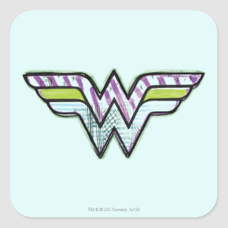 Wonder Woman Colorful Sketch Logo Square Sticker