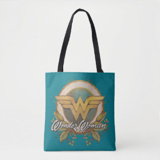 Wonder Woman Foliage Sketch Logo Tote Bag