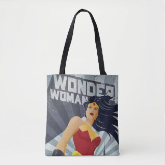 Wonder Woman Retro City Sunburst Tote Bag