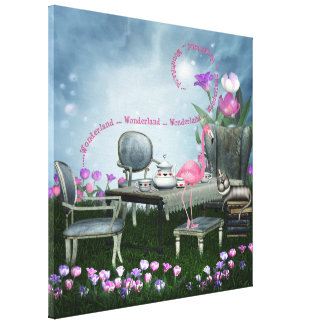 Wonderland Flamingo & Cheshire Cat Canvas Gallery Wrap Canvas