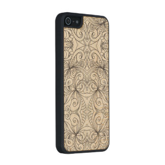 Wood Case iPhone 5/5s Floral Doodle Drawing