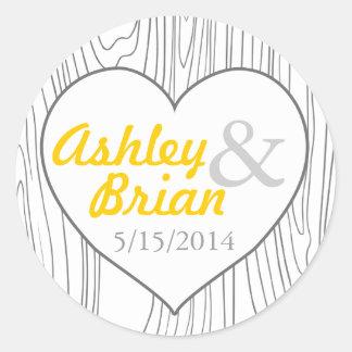 Wood grain heart wedding favor stickers round