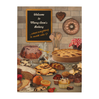 Wooden Bakery Sign with your Name Wood Canvas