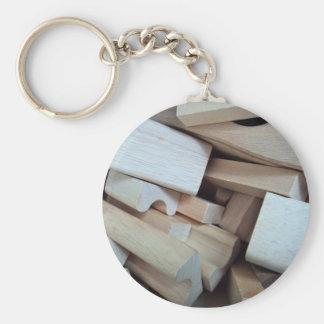 Wooden Building Blocks Key Chain