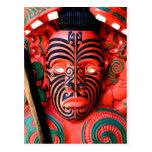 Wooden Carving of a Maori Warrior, New Zealand Postcard