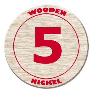 Wooden Nickel Round Cutout 13 Cm X 13 Cm Square Invitation Card