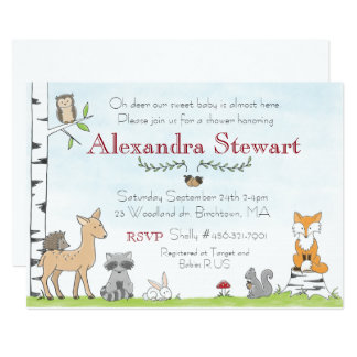 Woodland Animal Invitation Baby Shower or Birthday