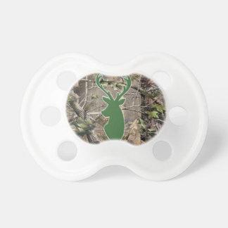 Woodland camo green deer head baby pacifier