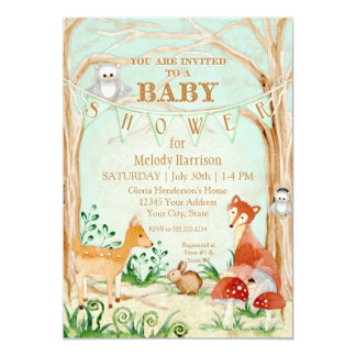 Woodland Creatures Animals Deer Fox Rabbit Owl Art 13 Cm X 18 Cm Invitation Card
