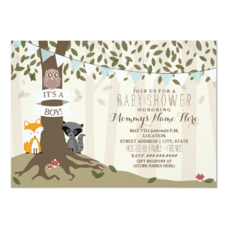 Woodland Creatures Baby Shower - Boy 13 Cm X 18 Cm Invitation Card