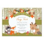 Woodland Shower - Forest Animals Themed Baby Showe 13 Cm X 18 Cm Invitation Card