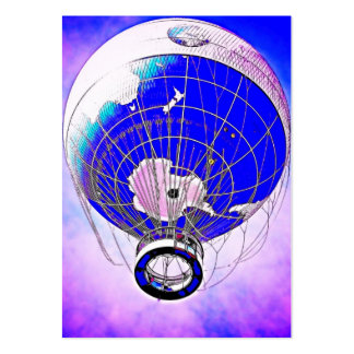 World Globe Balloon and Surreal Sky Pack Of Chubby Business Cards