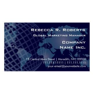 World Map International Telecommunications Blue Pack Of Standard Business Cards