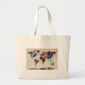 World Map Urban Watercolor Jumbo Tote Bag