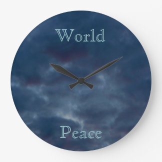World Peace Colorful Blue Clouds Clock