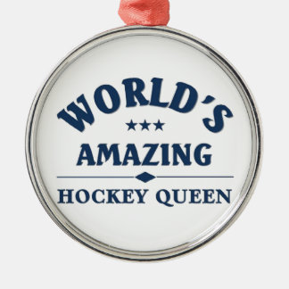 World's amazing Hockey Queen Silver-Colored Round Decoration