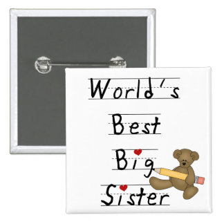 World's Best Big Sister Tshirts and Gifts 15 Cm Square Badge