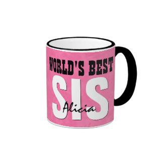 World's Best SISTER Pink Grunge Custom Name V20 Ringer Mug