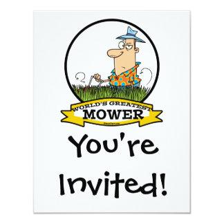WORLDS GREATEST LAWN MOWER MEN CARTOON 11 CM X 14 CM INVITATION CARD