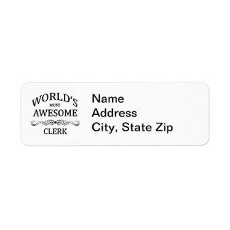 World's Most Awesome Clerk Return Address Label