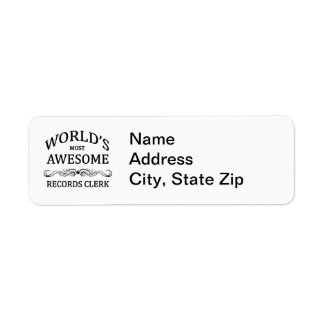 World's Most Awesome Records Clerk Return Address Label