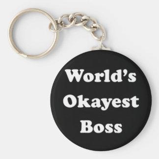World's Okayest Boss Humorous Work Gift Funny Fun Basic Round Button Key Ring