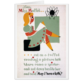 WPA Little Miss Muffet 1936 Greeting Card