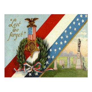 Wreath Medal Cemetery Us Flag Postcard