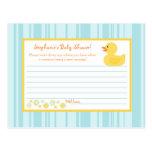 Writable Advice Card Rubber Ducky Bubbles Postcard
