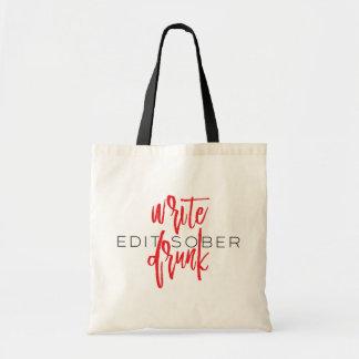 Write Drunk Edit Sober (red and black) Budget Tote Bag