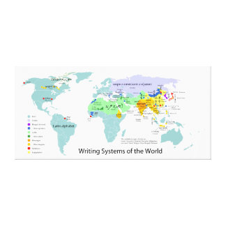 Writing Systems Map of the World Chart Stretched Canvas Print