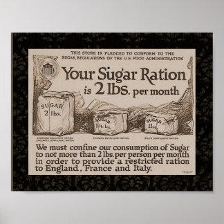WW1 Sugar Ration Vintage Poster