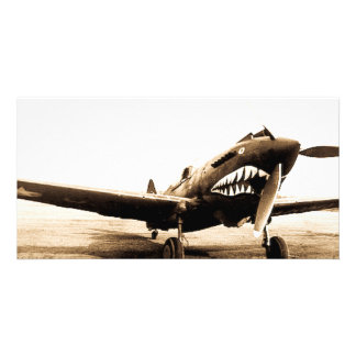 WWII Flying Tigers Curtiss P-40 Fighter Plane Customized Photo Card