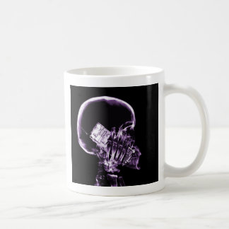 X-RAY SKELETON ON PHONE - PURPLE BASIC WHITE MUG