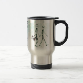 X-Ray Skeletons Afternoon Stroll Negative White Stainless Steel Travel Mug
