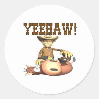 Yeehaw 2 round sticker