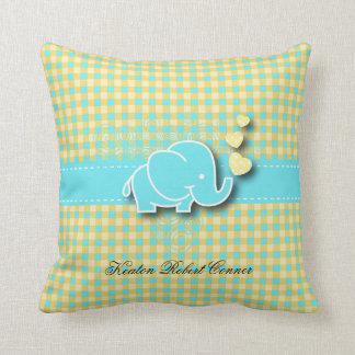 Yellow and Blue Plaid Baby Elephant Nursery Theme Cushion