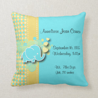 Yellow and Blue Plaid Baby Elephant Nursery Theme Throw Cushion