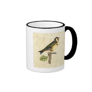 Yellow and Green Bird Perched on a Little Branch Ringer Mug