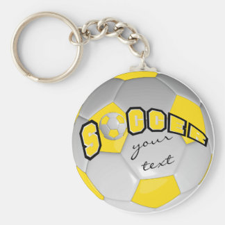 Yellow and White Personalize Soccer Ball Basic Round Button Key Ring