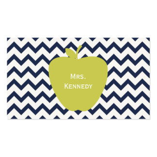 Yellow Apple Navy Chevron Teacher Pack Of Standard Business Cards