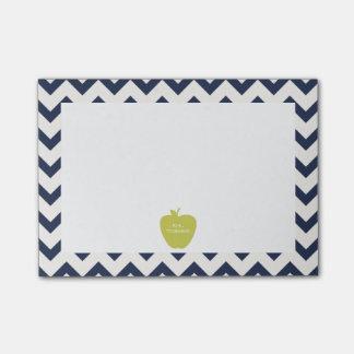 Yellow Apple Navy Chevron Teacher Post-it® Notes