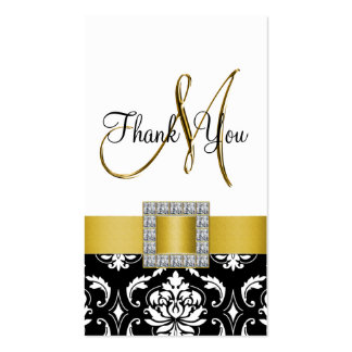 Yellow, Black Damask Wedding Thank You Pack Of Standard Business Cards