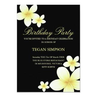 Yellow & Black Frangipani Birthday Invite