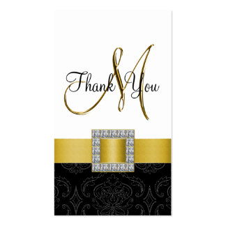 Yellow, Black White Damask Gold Wedding Thank You Pack Of Standard Business Cards