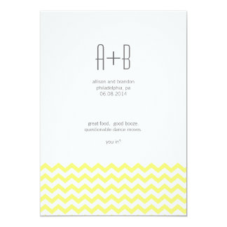 Yellow Chevron You In? Save the Date 13 Cm X 18 Cm Invitation Card