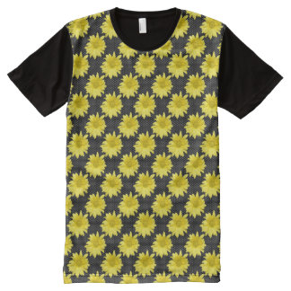 Yellow Daisy Black and White Polka Dots All-Over Print T-Shirt