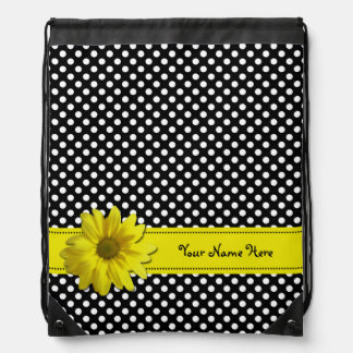 Yellow Daisy Black and White Polka Dots Backpacks