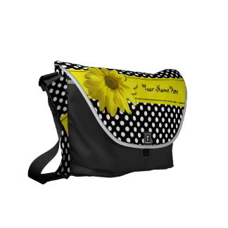 Yellow Daisy Black and White Polka Dots Messenger Bags