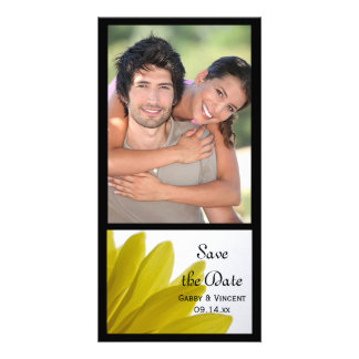 Yellow Daisy Flower Petals Wedding Save the Date Custom Photo Card